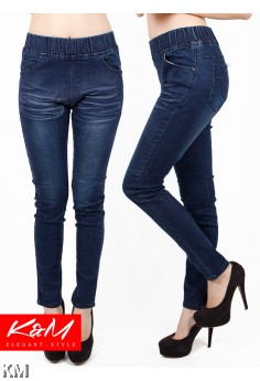 Slim Fit Denim Lady Rubber Waist Jeans [M23227]