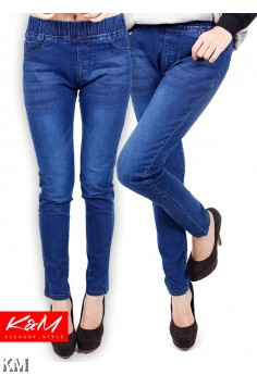 Slim Fit Denim Lady Rubber Waist Jeans [M23195]