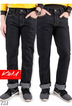 Black Elegant Regular Cutting Men Jeans [M20834]
