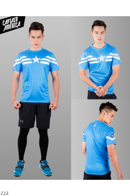 Super Hero Men's Sport Quick Dry Short Sleeves T-Shirt Tees [M25687]