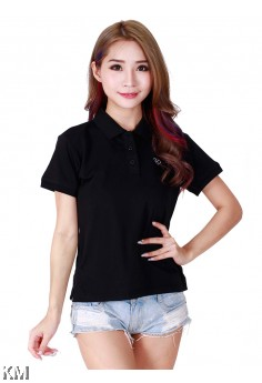 Lady Polo Tops Black [M10556]