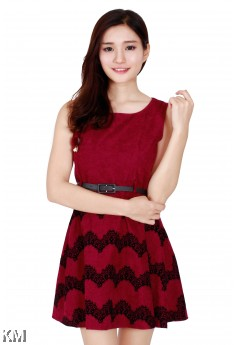 Printed Lace Dress With Belt [M24545]