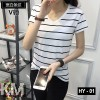 V-neck Modern Striped Tee [M10305]