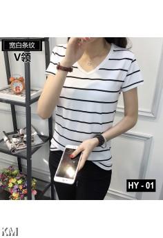 V-neck Modern Striped Tee [M10305]