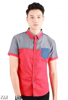 Contrasted Pocket Short Sleeves Shirt [M11631]