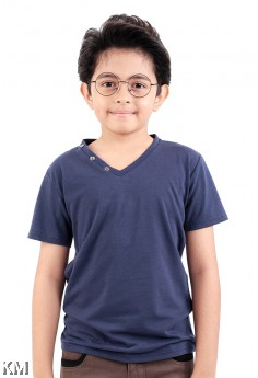Kids V Neck Solid Tee [M11542]