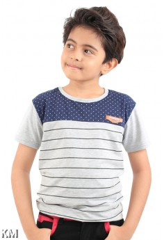 Kids Two Tone Stripe Tee [M11548]