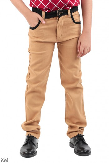Kids Contrast Detailed Trousers [M15298]