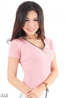 Front Zip Knitted Top [M1002]