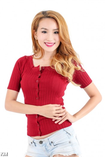 Front Button Knitted Top [M1003]