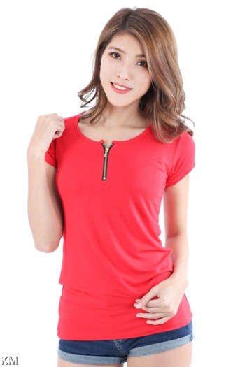 Zipper Detail Ladies Tee [M3072]