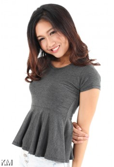 Peplum Short Sleeve Top [M11063]