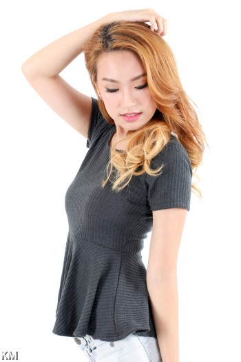 Peplum Knit Top [M11066]