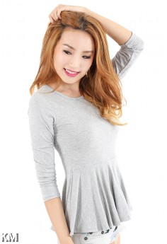 Long Sleeve Peplum Top [M11071]