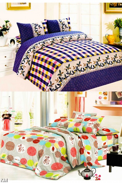 [M21371-A] Queen Size Modern Bedsheet with corner straps