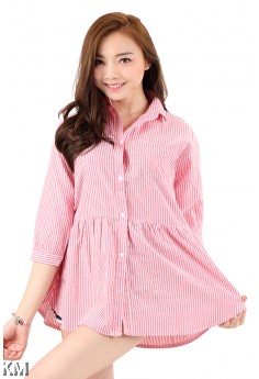 Woman Stripe Collar Shirt [M2933]