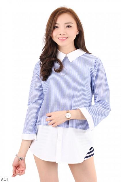 Oversize Striped Long Sleeve Shirt [M2934]