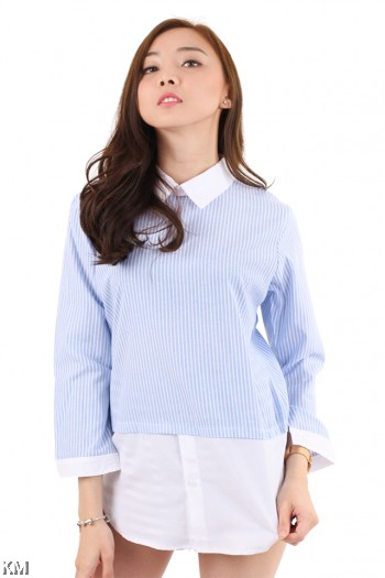 Oversize Striped Long Sleeve Shirt [M2934]