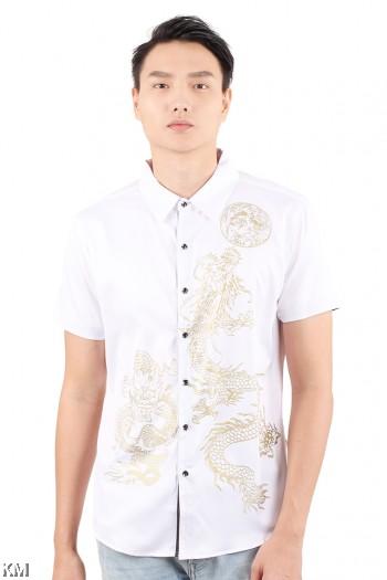 Golden Dragon Printed Men Shirt [M18140]