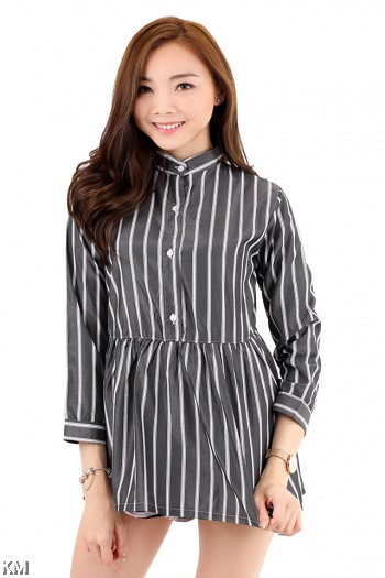 Monochrome Stripe Long Sleeve Shirt [M2936]