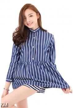 Monochrome Stripe Long Sleeve Shirt [M2936]