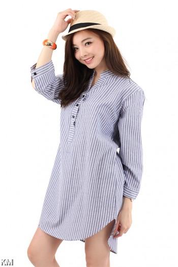 Striped Boyfriend Long Shirt [M2937]