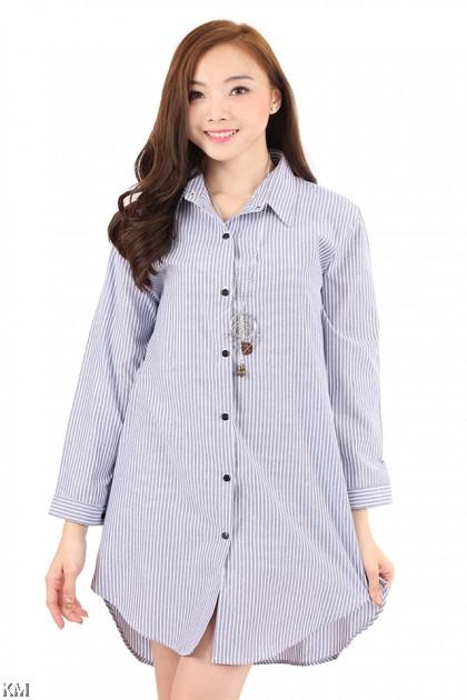 Stripe Boyfriend Button Up Long Shirt [M2938]