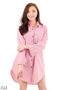 Stripe Boyfriend Button Up Long Shirt [M2938]