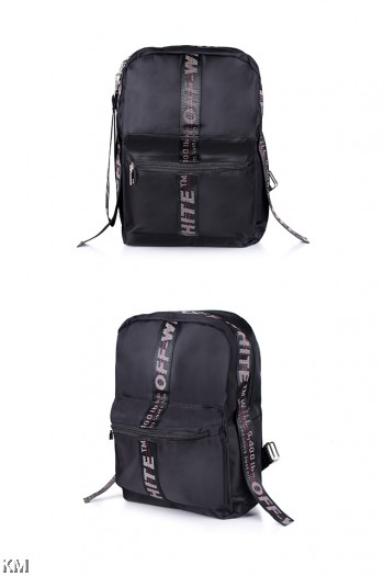 Korean Style Tape Zipper Com part Backpack [M22524]