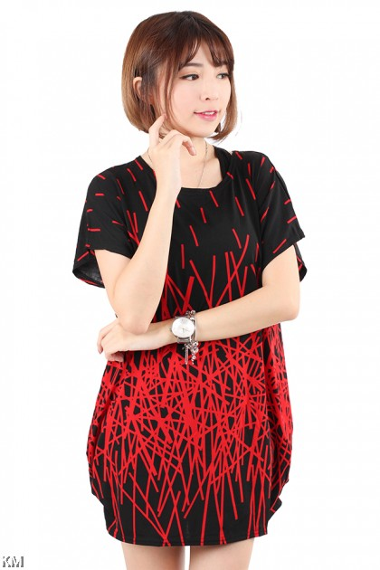 Abstract Lines Plus Size T Shirt [M20351]