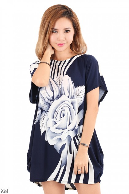 Big Rose Printed Plus Size T Shirt [M20353]
