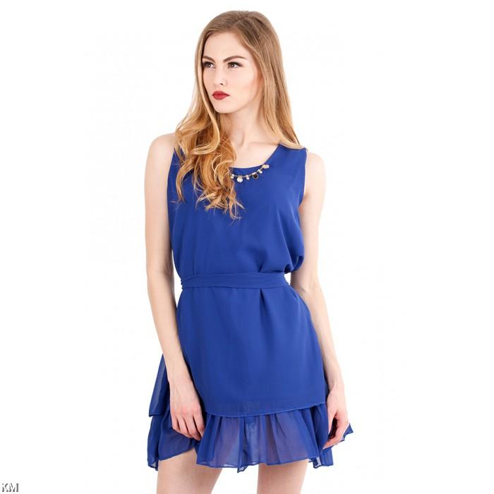 round neckline lady dress m463