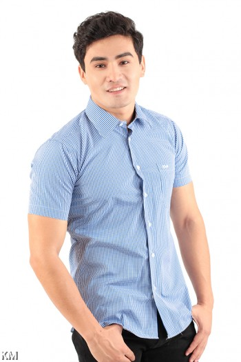 Checkered Short Sleeve Formal [M20993]