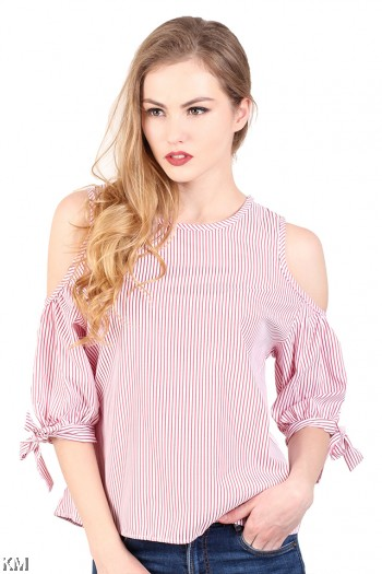 Cold Shoulder Striped Top [M286]