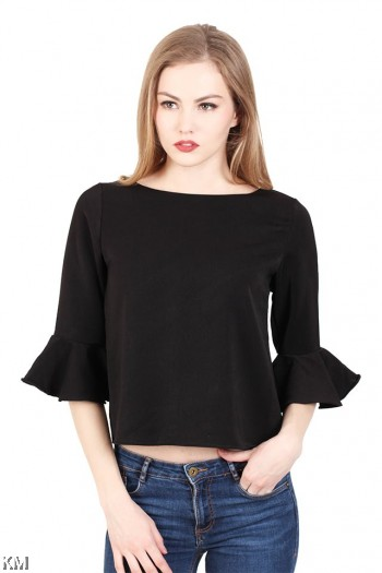 Flounced Sleeve Ladies Top [M292]