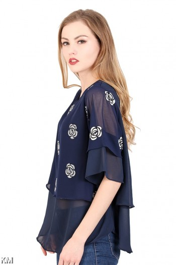 Rose Embroidered Top [M23043]