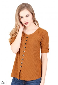Short Sleeves Knitting Top [M936]