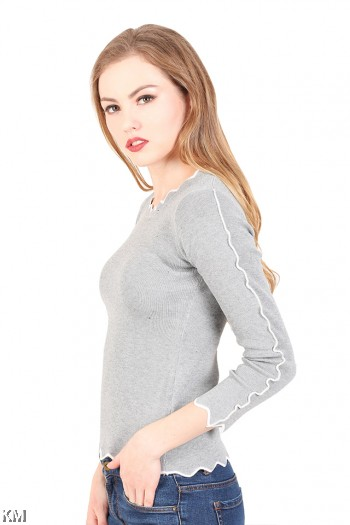 Slim Fit Solid Knitting Top [M23016]