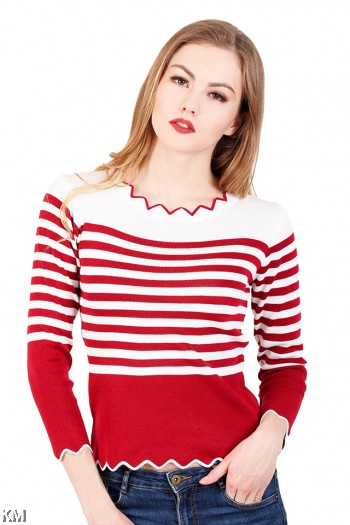 Stripped Knitting Top [M23018]
