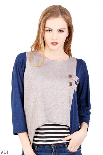 Button Embellished Top [M289]