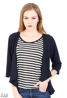 Black Striped Lady Top [M290]