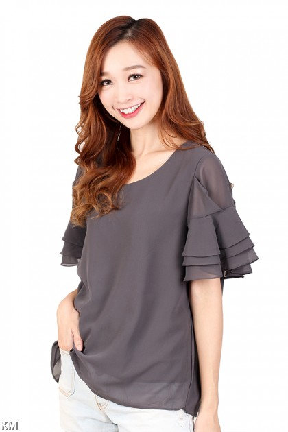 Ruffle Sleeves Detailed Top [M434]