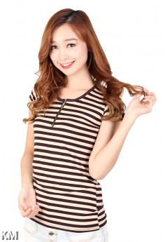 Weekend Casual Striped Tee [M5180]