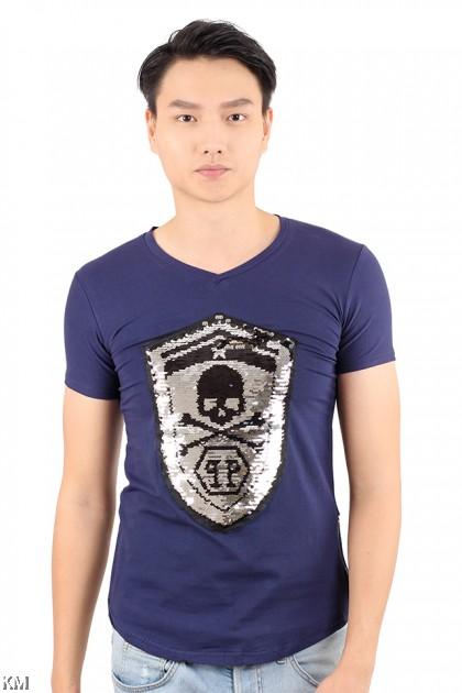 Skull Sequin T Shirt [M21541]