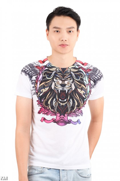 Abstract Lion Graphic Tee [M22279]