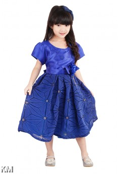Kids Solid Party Dress [M18168]