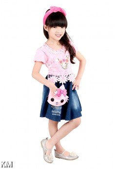 Kids Dress with Kitty Sling Bag [M18204]