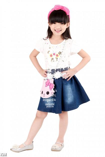 Kids Dress with Kitty Sling Bag [M18204]