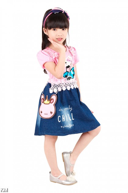 Kids Dress with Bunny Sling Bag [M18205]