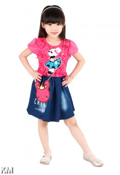 Kids Dress with Bunny Sling Bag [M18205]